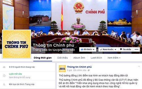 Vietnamese government goes on Facebook