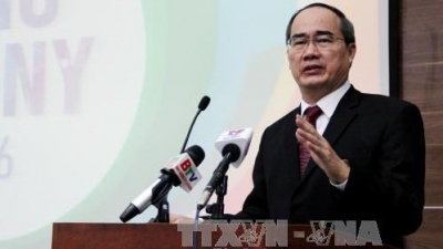 VFF President Nguyen Thien Nhan speaking at the ceremony. (Credit: VNA)