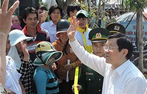 President Sang visits Ly Son island district