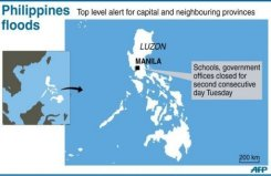Graphic map showing the Philippines capital where torrential rains have closed schools and offices for the second consecutive day.
