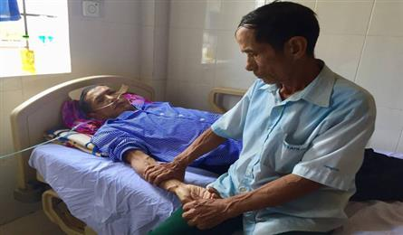 Poor man seeking for help to save ailing sons