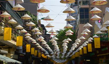 Conical hat street in Hanoi Old Quarter