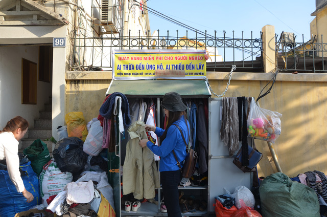 Charity clothes booth on Hanoi streets