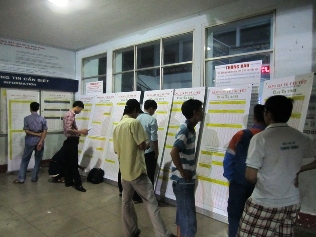 Tet means overnight stays train stations for many