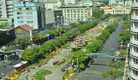 Colourful decorations on Nguyen Hue Flower Street