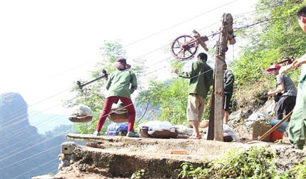Farmers invent cable car to carry custard apples from mountains