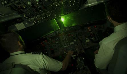 Pilots continually blinded by laser beams
