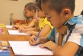 5-year-old children hurrying for intensive practice writing classes