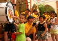 US naval soldiers play music for Vietnamese disabled children